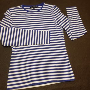Jones new York blue and white shirt